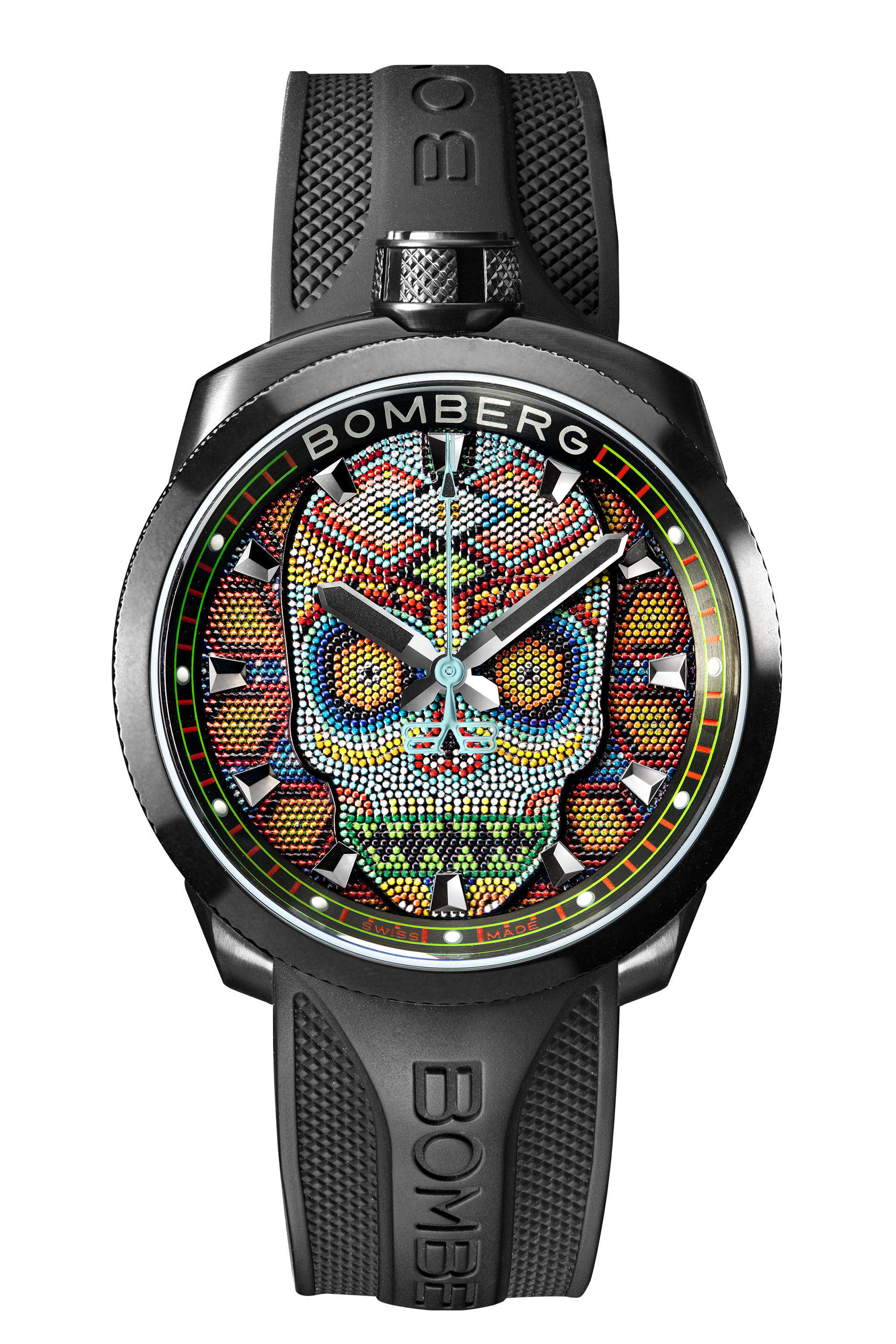 Bomberg Bolt 68 Skull Pearl 45mm Colorful W Bom