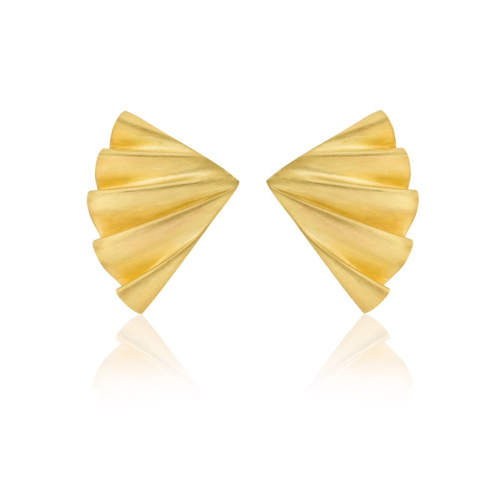 ANASTASIA KESSARIS Plisse Gold Matte Earrings SKP180268