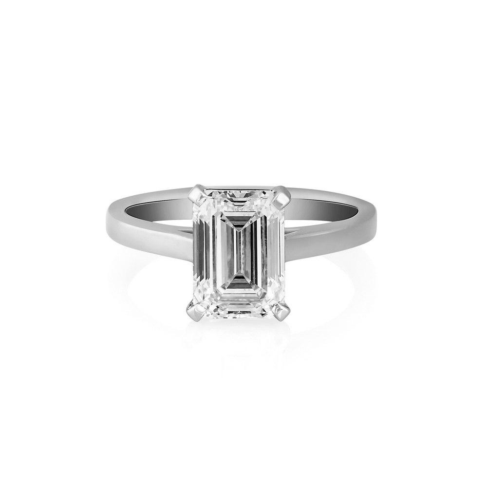 KESSARIS Solitaire Emerald Diamond Ring DAP172101