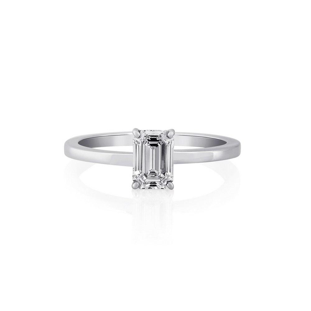 KESSARIS Solitaire Emerald Diamond Ring DAP171895