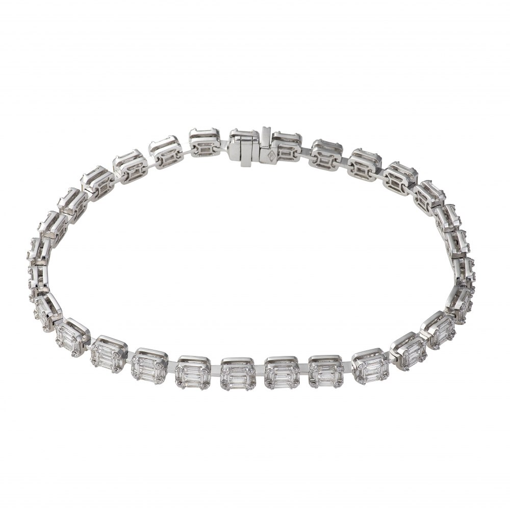 KESSARIS Diamond Cluster Multiple Emerald Tennis Bracelet BRE160920