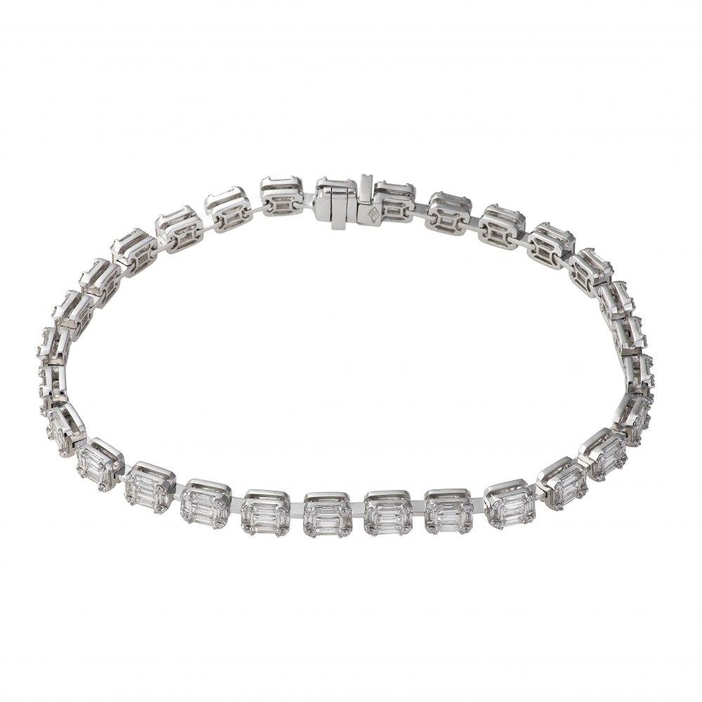 KESSARIS Diamond Cluster Multiple Emerald Tennis Bracelet BRE160920