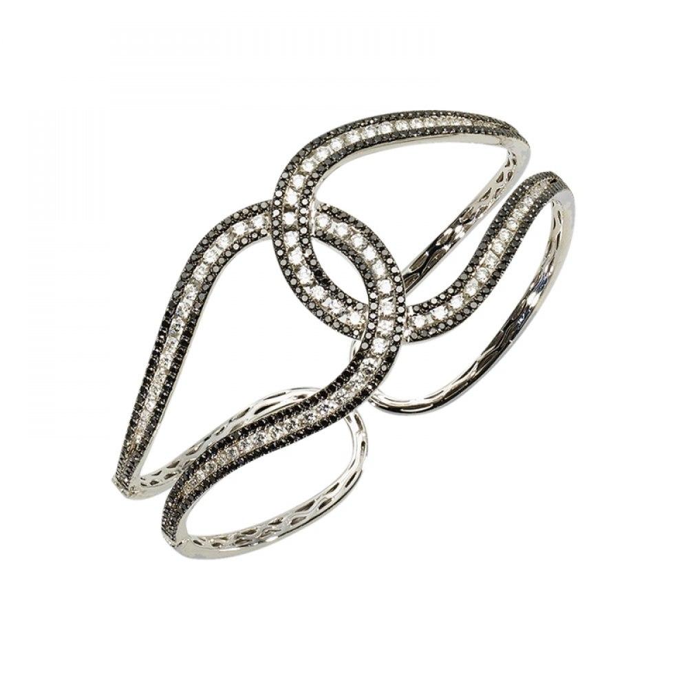 KESSARIS White & Black Diamond Knot Cuff Bracelet BRP113140