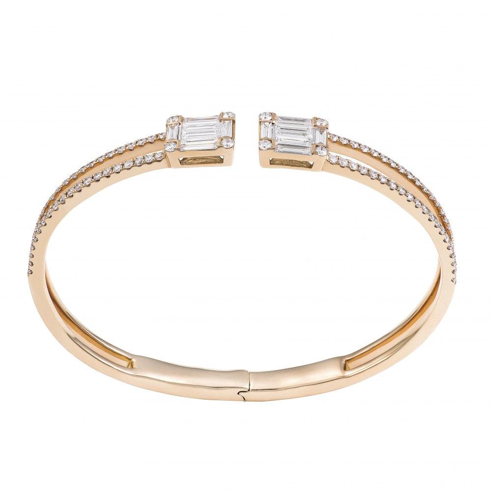 KESSARIS Diamond Cluster Double Emerald Cuff Bracelet BRP171639