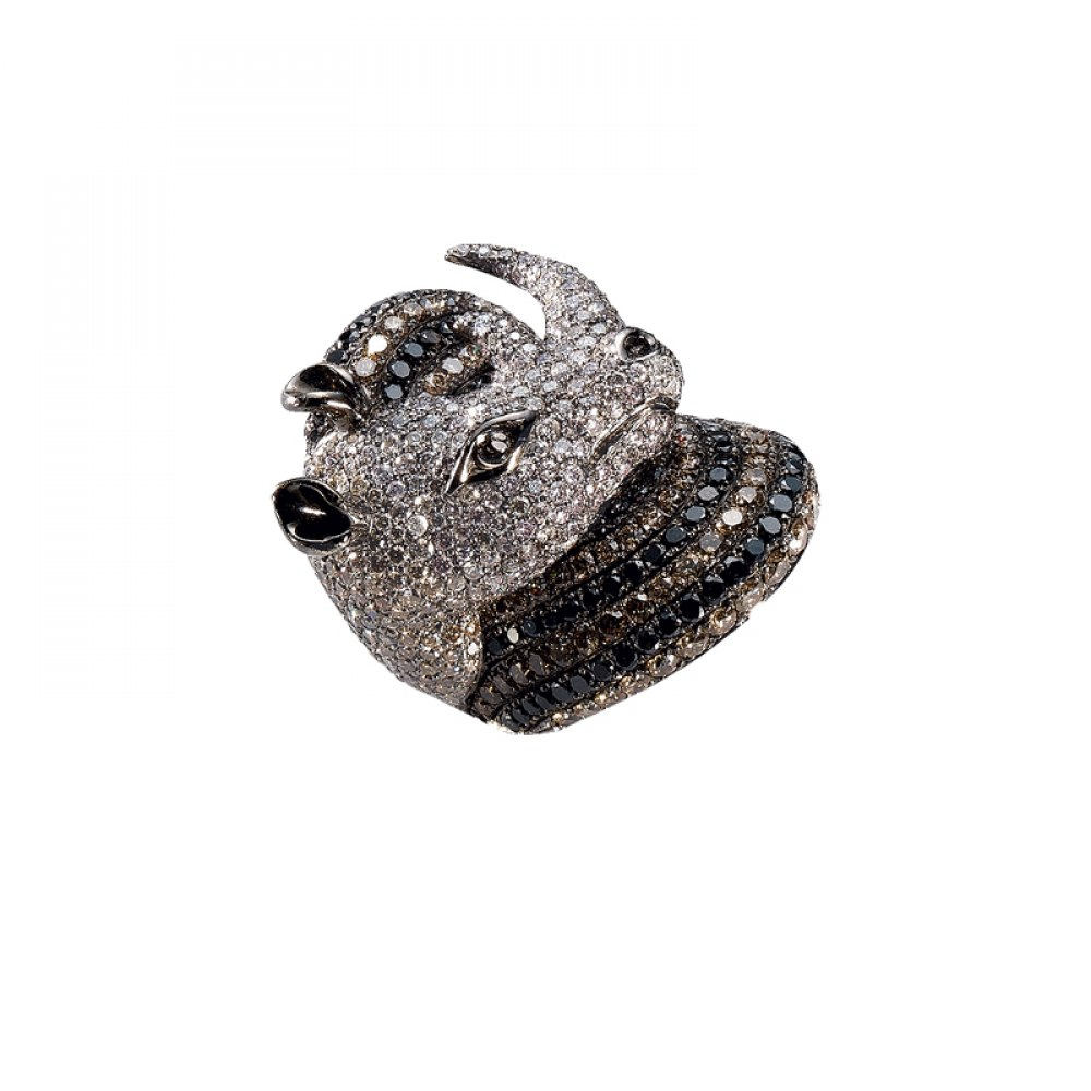 KESSARIS Black, White & Brown Diamond Rhinoceros Ring DAE81319