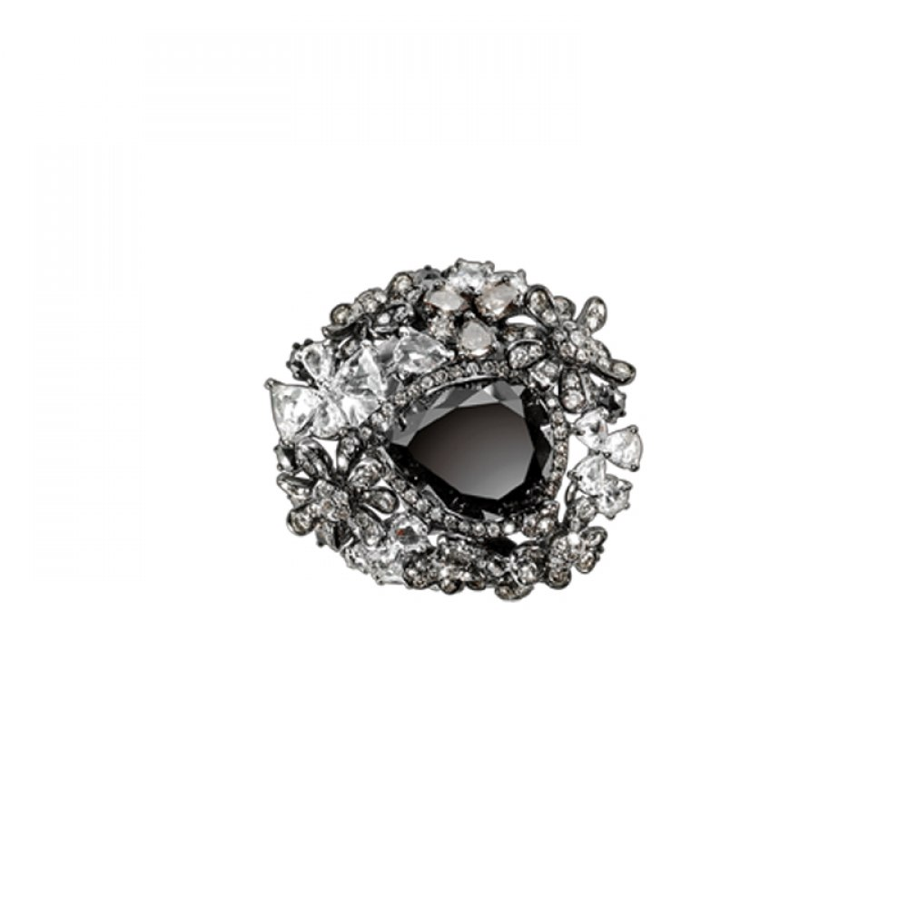 KESSARIS Floral Black Diamond Ring DAE92969