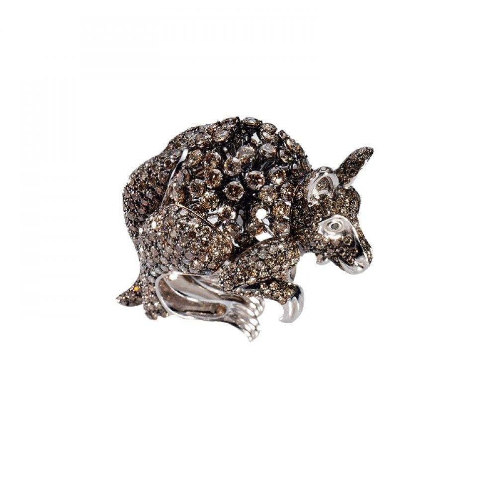 KESSARIS Brown Diamond Kangaroo Ring DAP81069