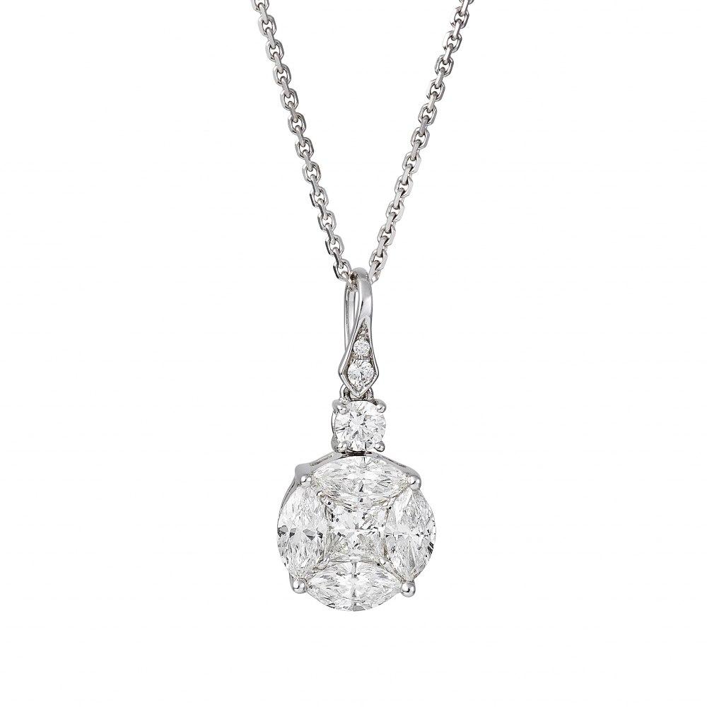 KESSARIS Diamond Cluster Round Pendant Necklace KOE151159