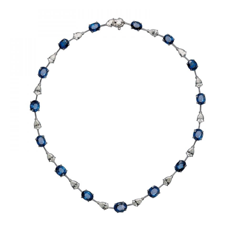 KESSARIS Multi-shape Sapphire & Diamond Necklace KOE151737