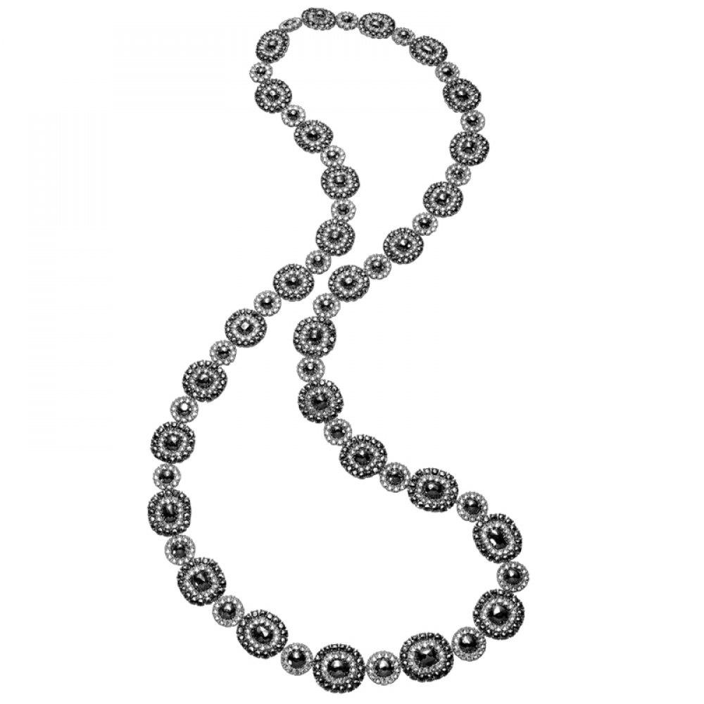 KESSARIS Black & White Diamond Motif Necklace KOE94167