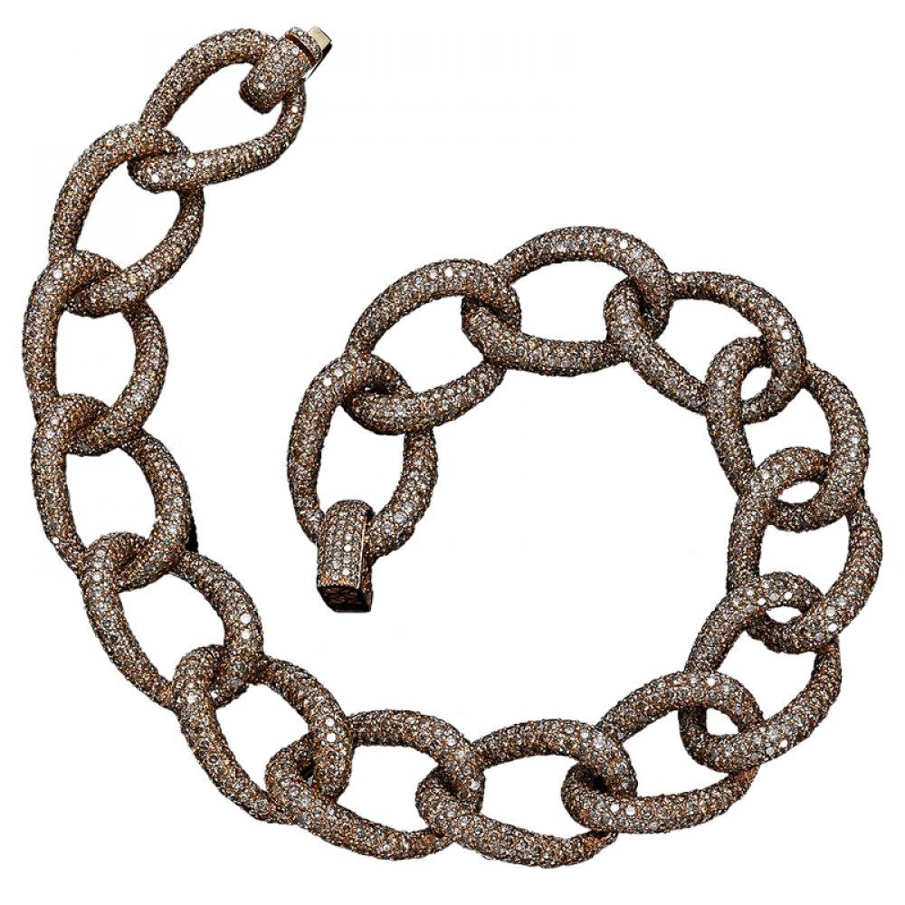 KESSARIS Brown Diamond Necklace KOP74654