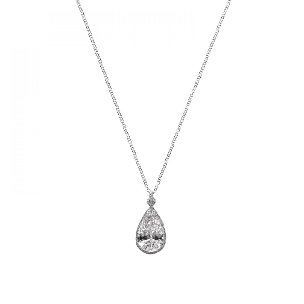 KESSARIS Solitaire Pear Diamond Pendant KOP82414