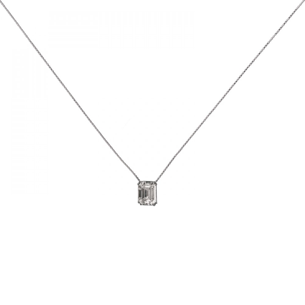 KESSARIS Solitaire Emerald Diamond Pendant KOP92378