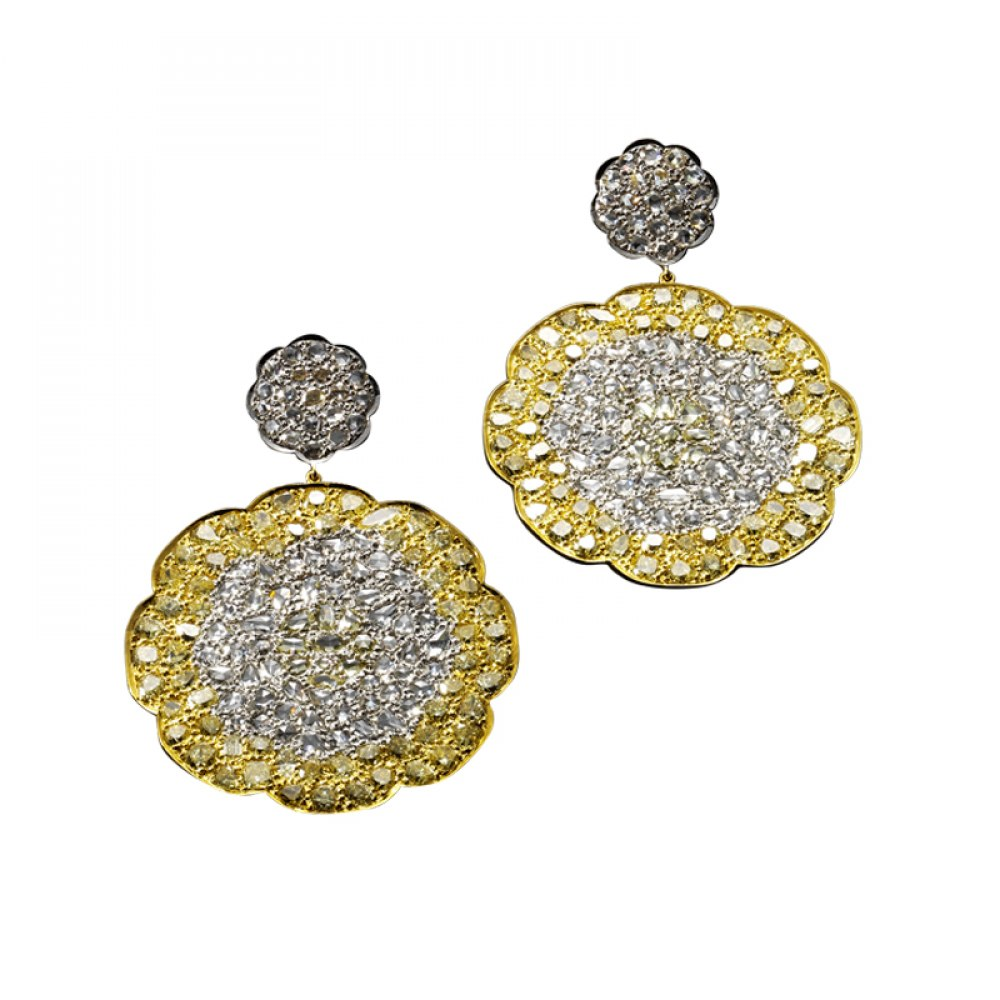 KESSARIS Statement White & Yellow Diamond Earrings SKE102951