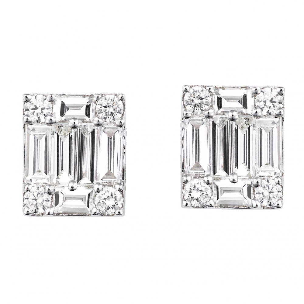KESSARIS Diamond Cluster Emerald Earrings SKE141507