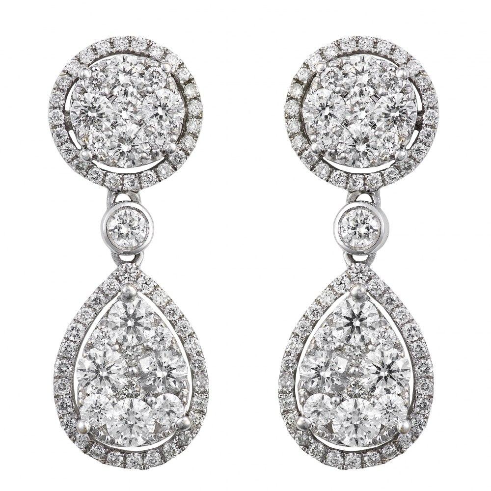 KESSARIS Diamond Cluster Round and Teardrop Earrings SKE172538