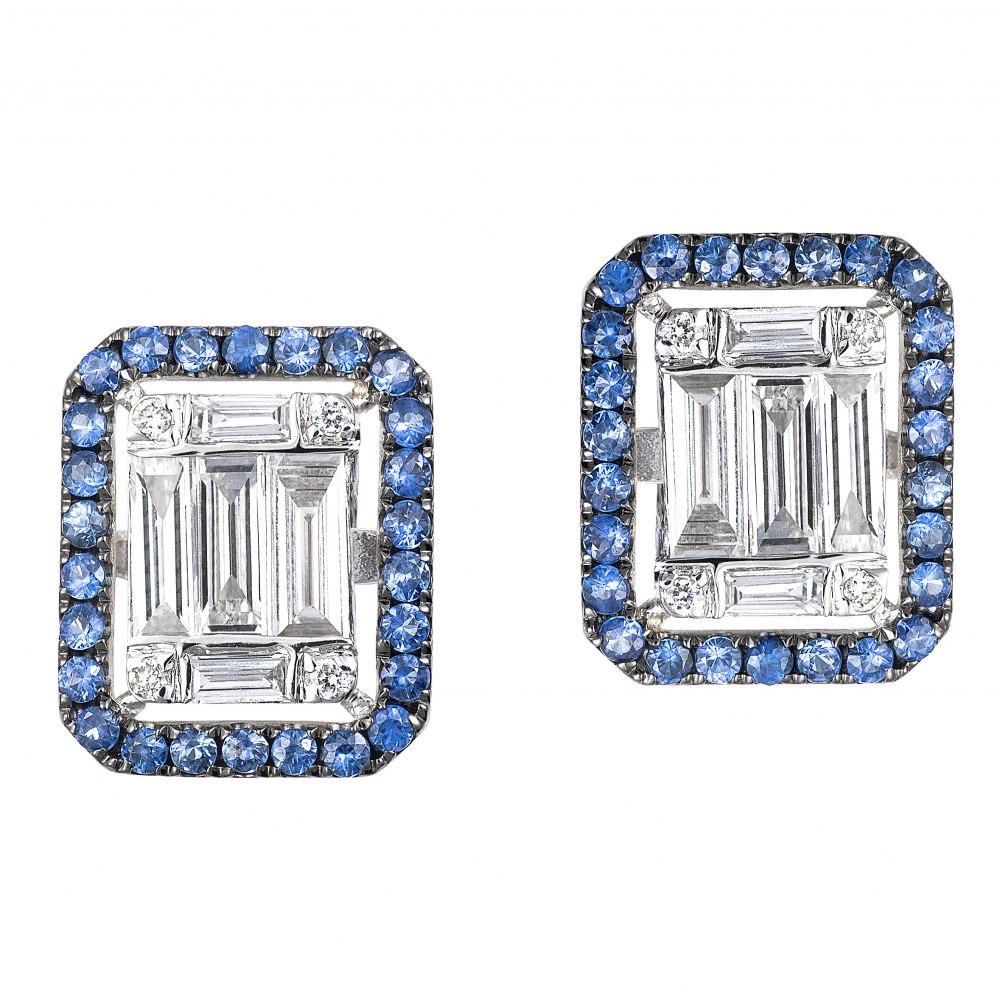 KESSARIS Diamond & Sapphire Cluster Emerald Earrings SKE172697