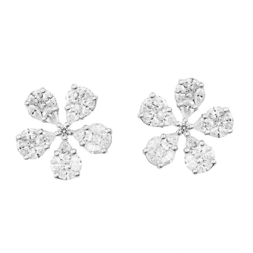 KESSARIS Diamond Flower Cluster Earrings SKE172726