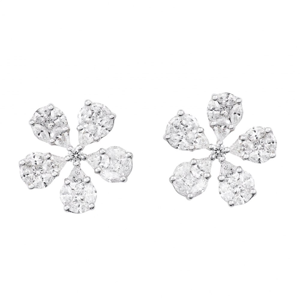 KESSARIS Diamond Flower Cluster Earrings SKE172726