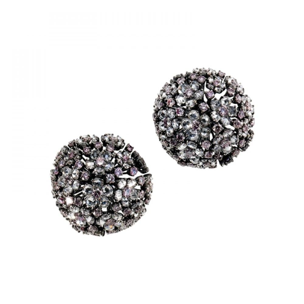 KESSARIS White & Pink Diamond Floral Clip On Earrings SKE81387