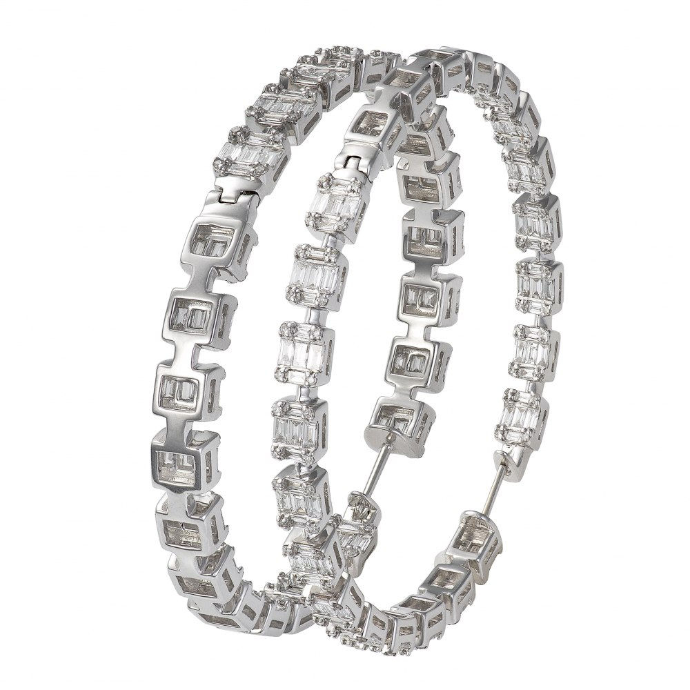 KESSARIS Diamond Cluster Hoop Earrings SKP162606