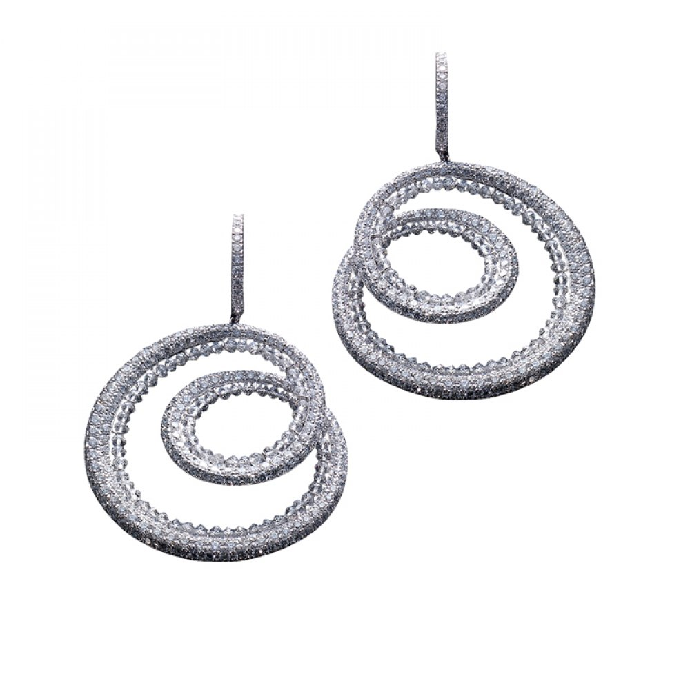 KESSARIS Diamond and Briolette Cut Hoop Earrings SKP83349