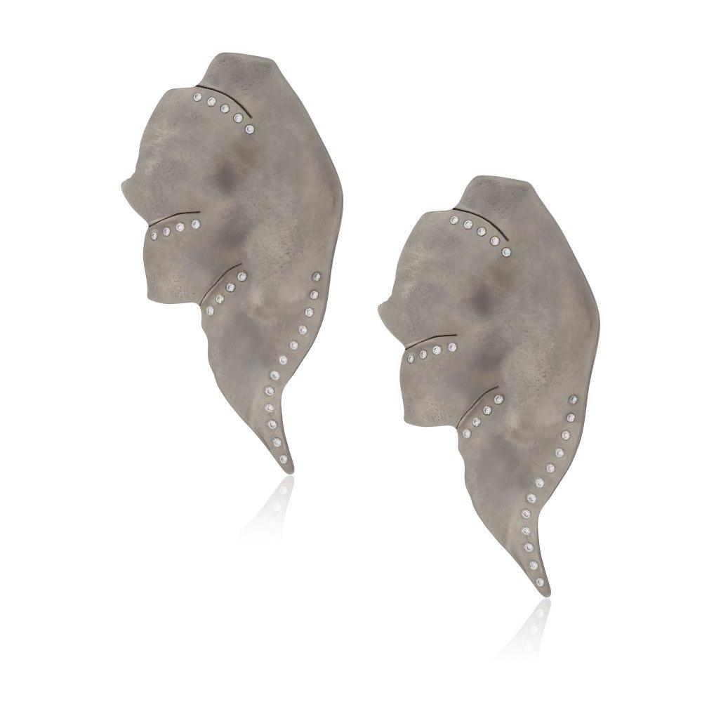 ANASTASIA KESSARIS Elefun Graphite Titanium Diamond Earrings SKP182067_GP