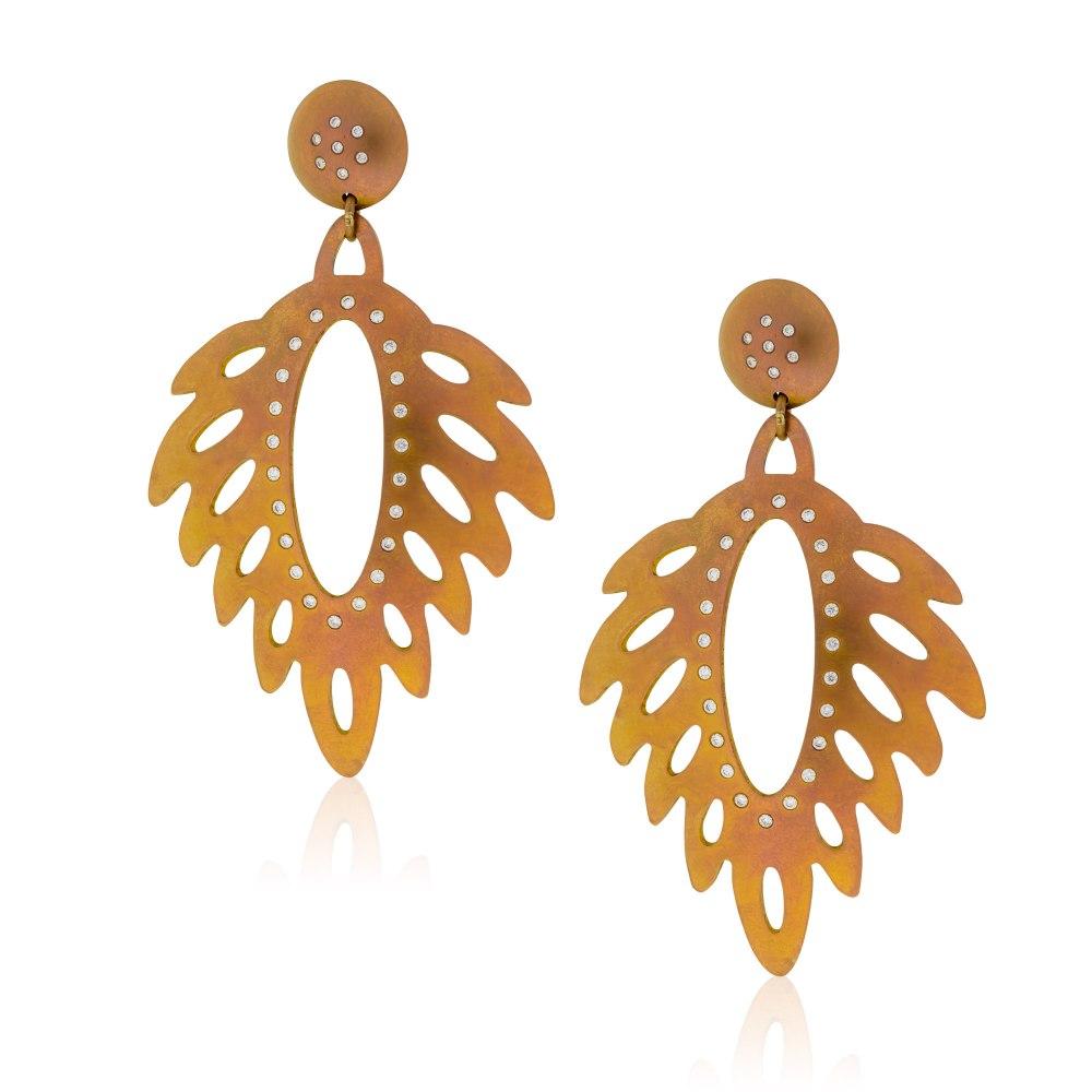 ANASTASIA KESSARIS Pluma Leaf Rose Gold Titanium Diamond Earrings SKP182101_RG
