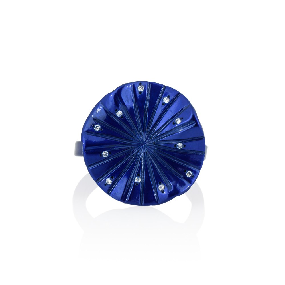 ANASTASIA KESSARIS Mini Disco Clique Blue Titanium Diamond Ring A.RG.AP0080-BLU1