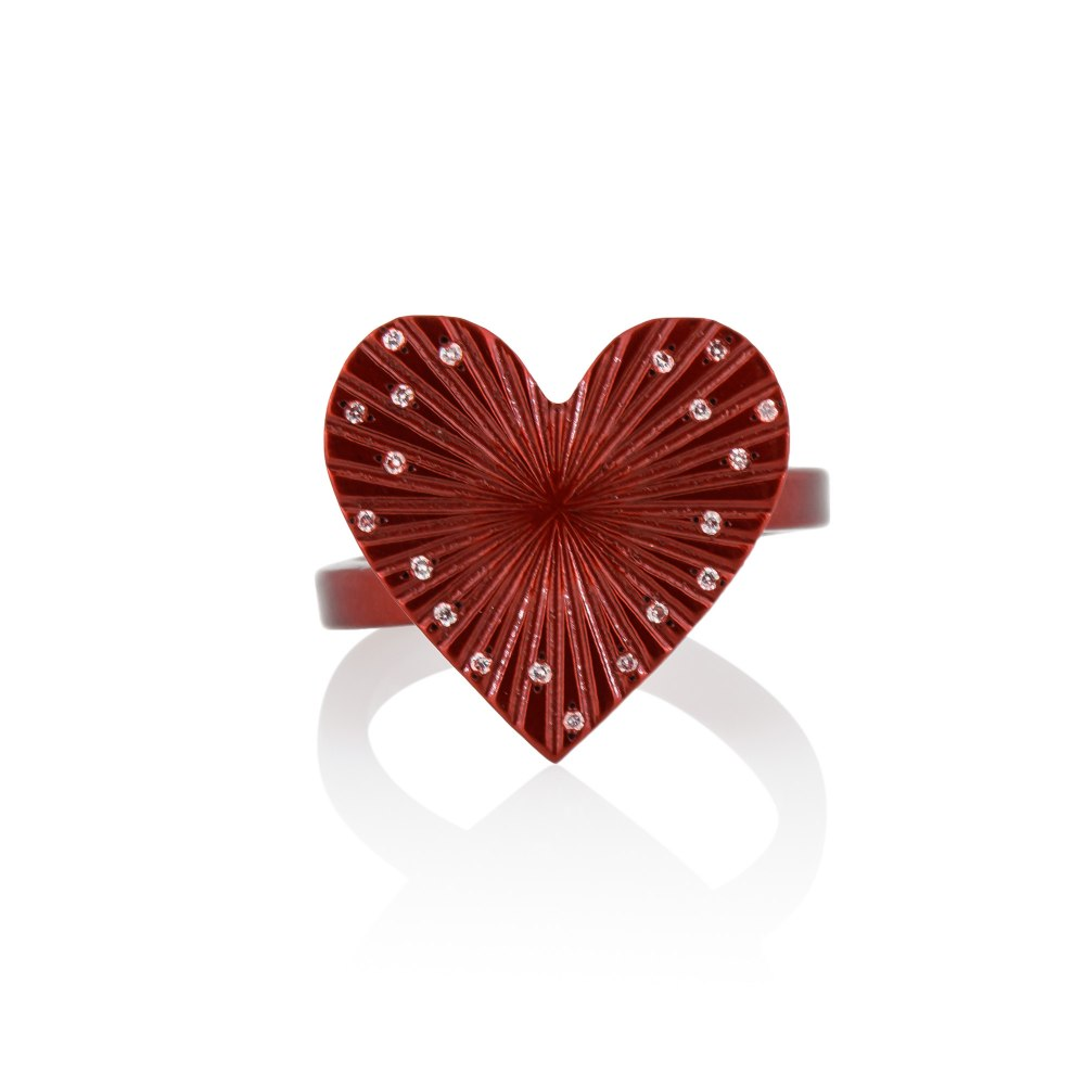 ANASTASIA KESSARIS Love Red Titanium Diamond Ring A.RG.AP0076-RED1