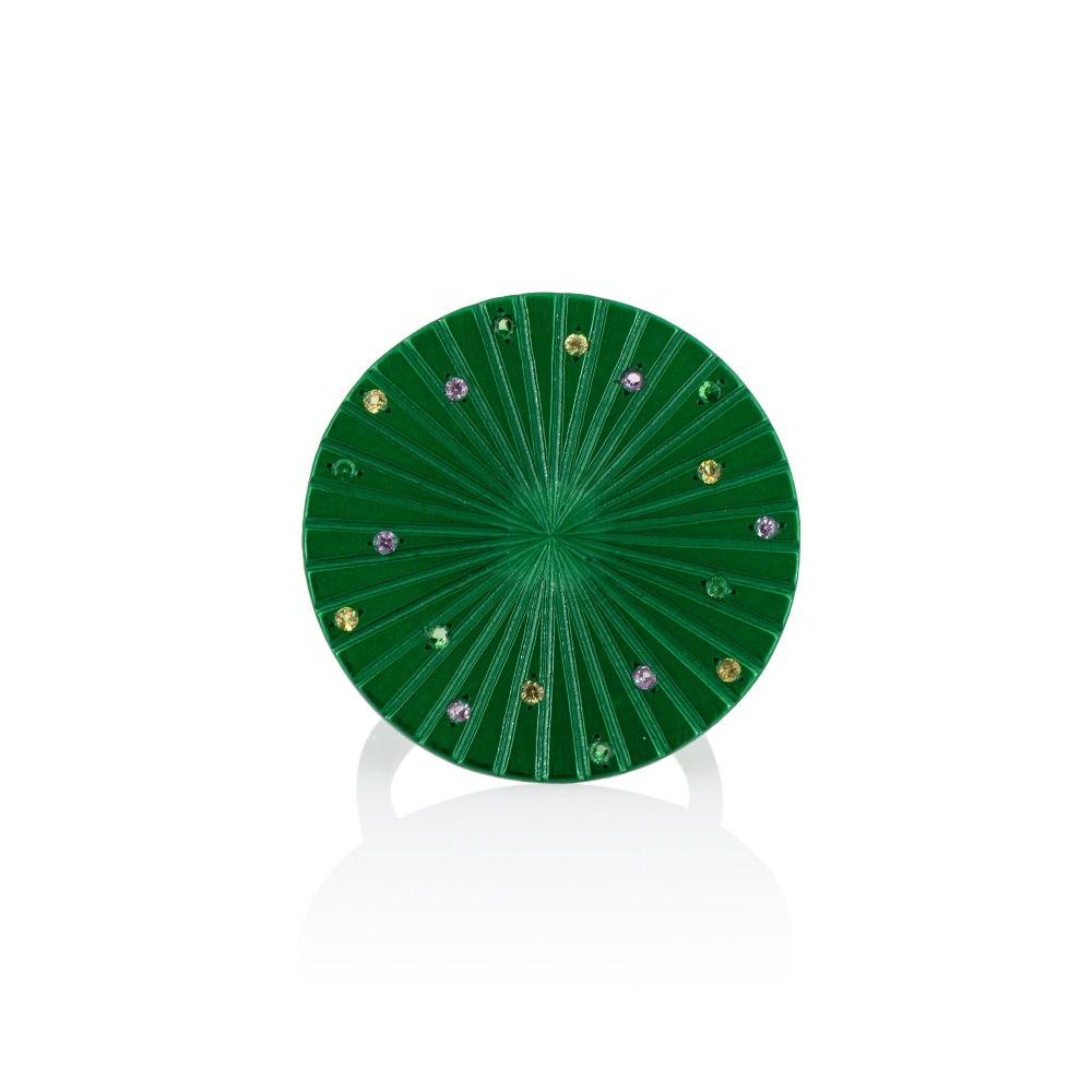 ANASTASIA KESSARIS Spacecraft Green Titanium Sapphire & Tsavorite Ring A.RG.AP0074-GRN1