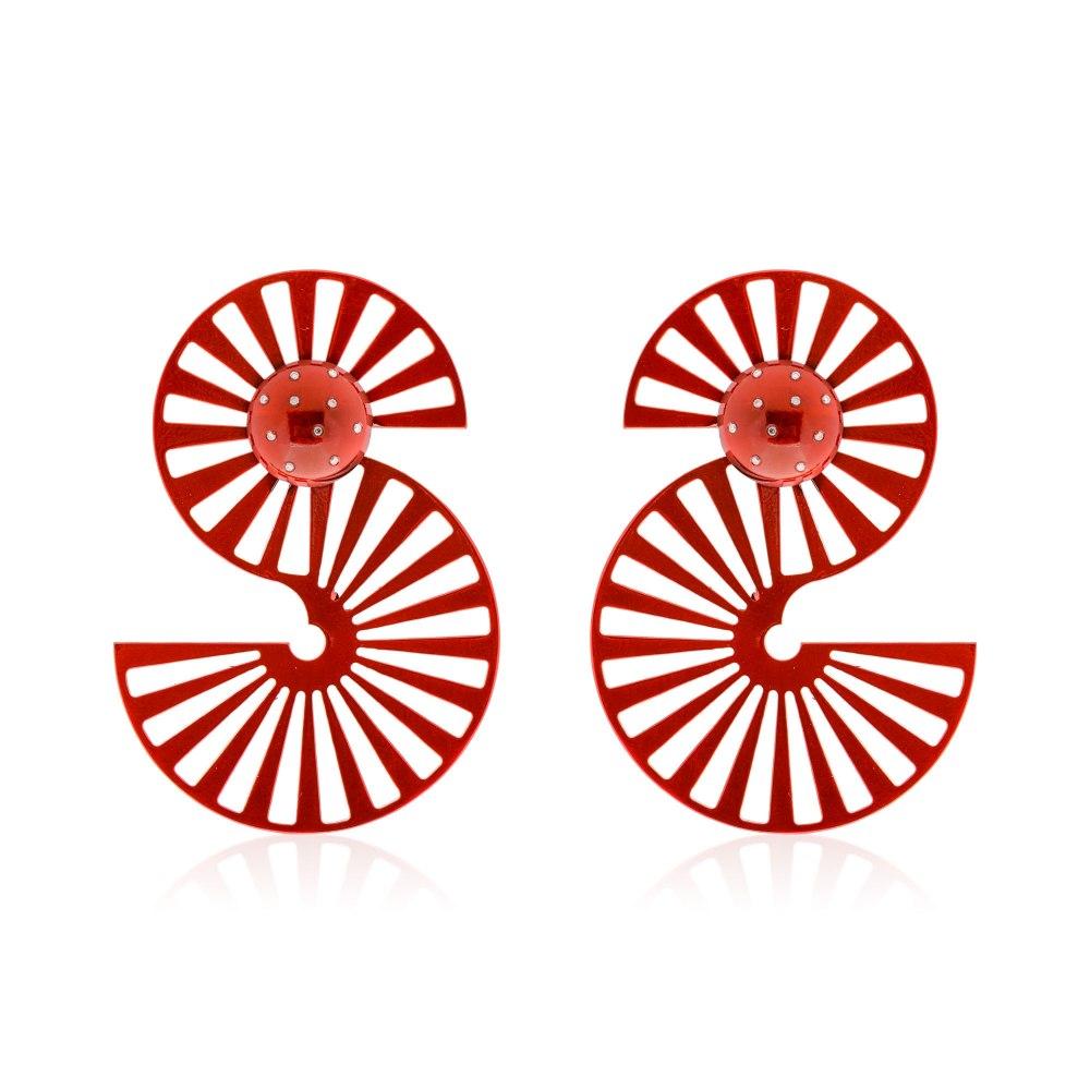 ANASTASIA KESSARIS Dancing Rails Red Titanium Diamond Earrings SKP180401_RD