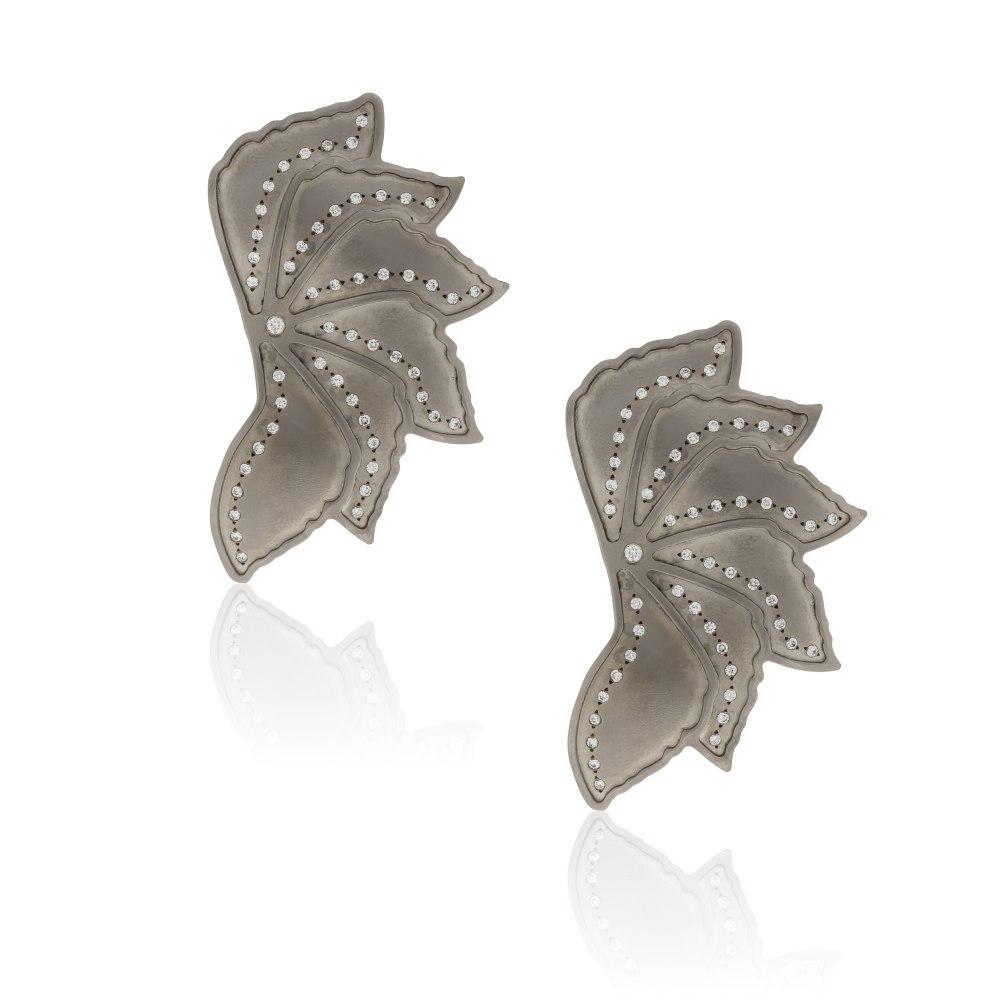 ANASTASIA KESSARIS Mega Fun Graphite Titanium Diamond Earrings SKP182066_GP