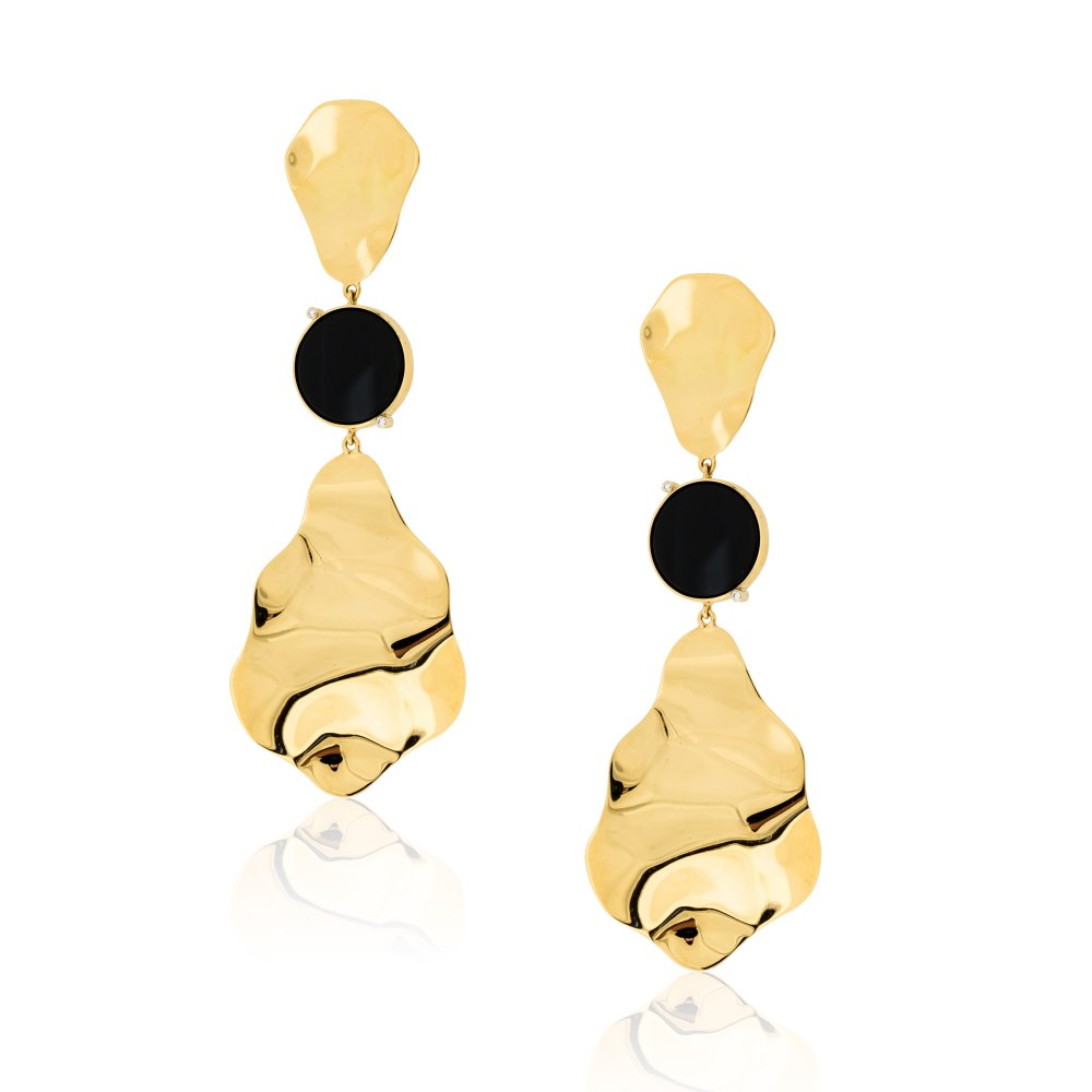 ANASTASIA KESSARIS Supero Black Onyx Gold Long Earrings SKP182085