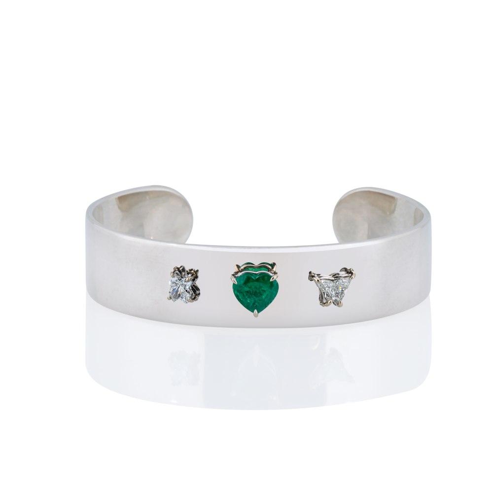 ANASTASIA KESSARIS Custom Adorned Silver and Gold Cuff Bracelet BRP201311