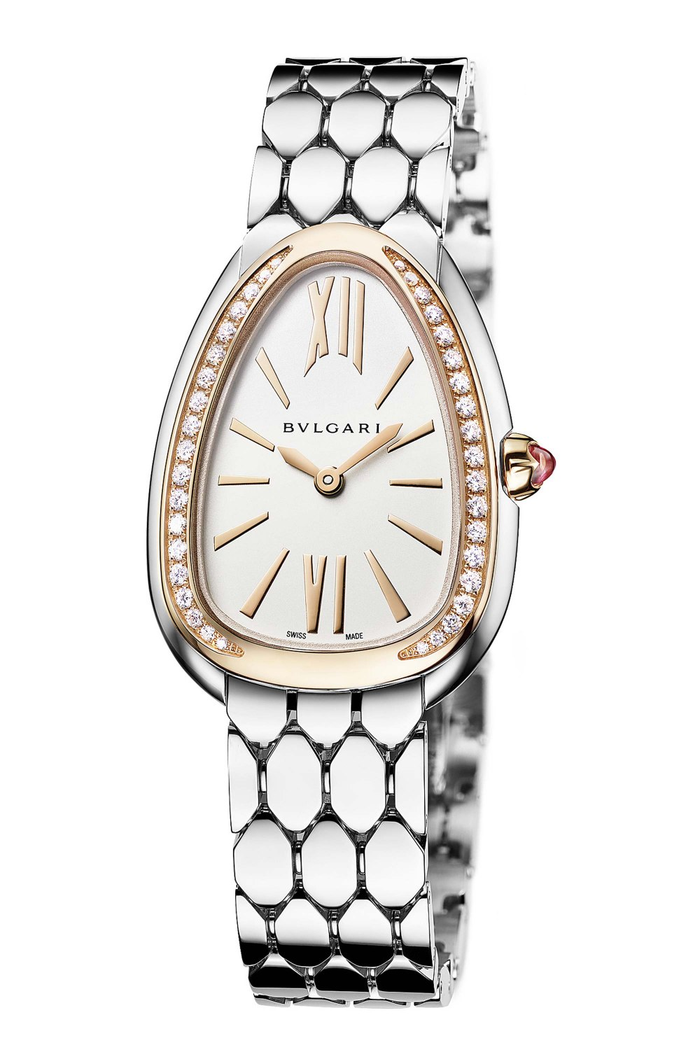 BULGARI Serpenti Seduttori Stainless Steel Rose Gold Diamonds 103143