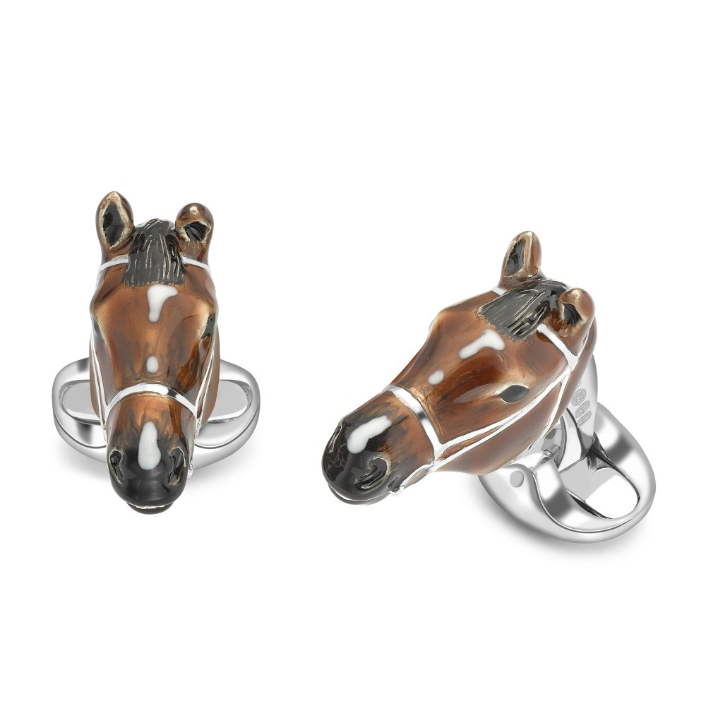 DEAKIN & FRANCIS Sterling Silver Brown Horse Head Cufflinks C1490S202223