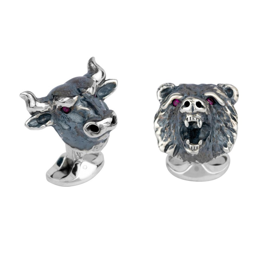 DEAKIN & FRANCIS Sterling Silver Bull & Bear Cufflinks with Ruby Eyes C1640X0001