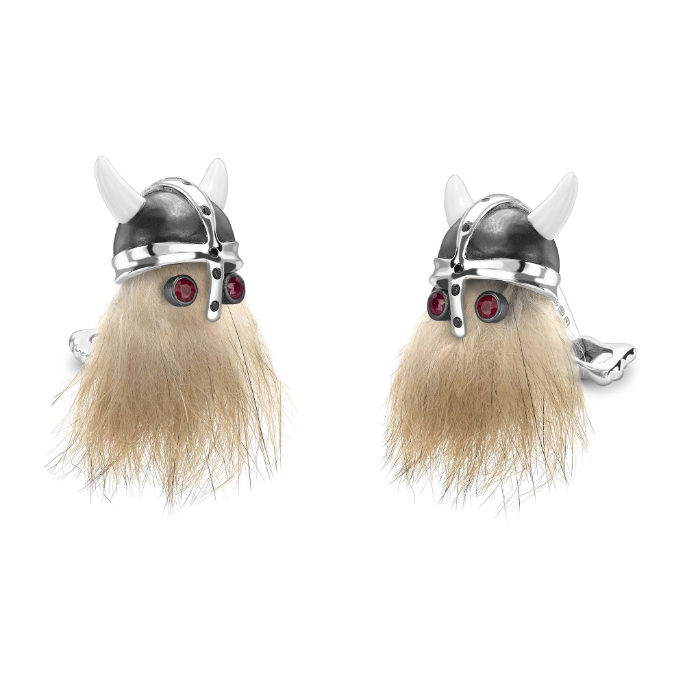 DEAKIN & FRANCIS Hairy Viking Skull with Black Helmet and Ruby Eye Cufflinks C1834X0001