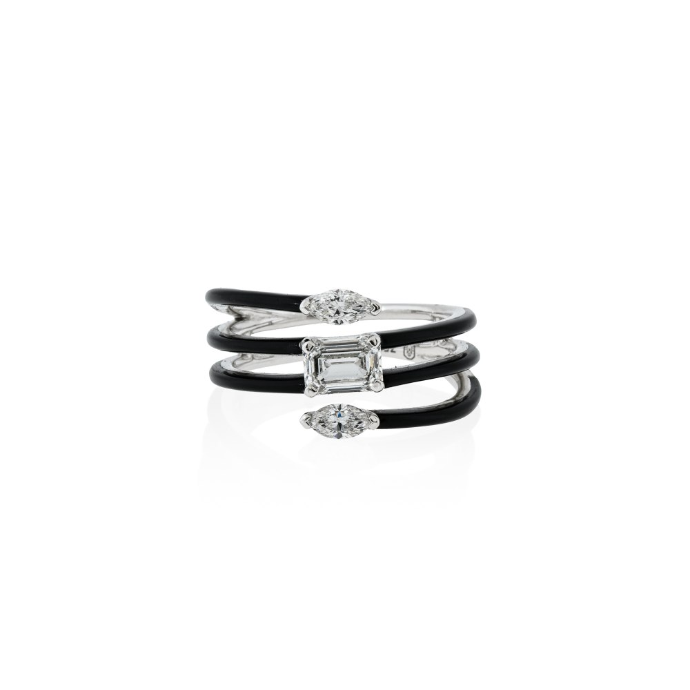 ETHO MARIA Black Ceramic & Diamond Contemporary Ring DAE182907