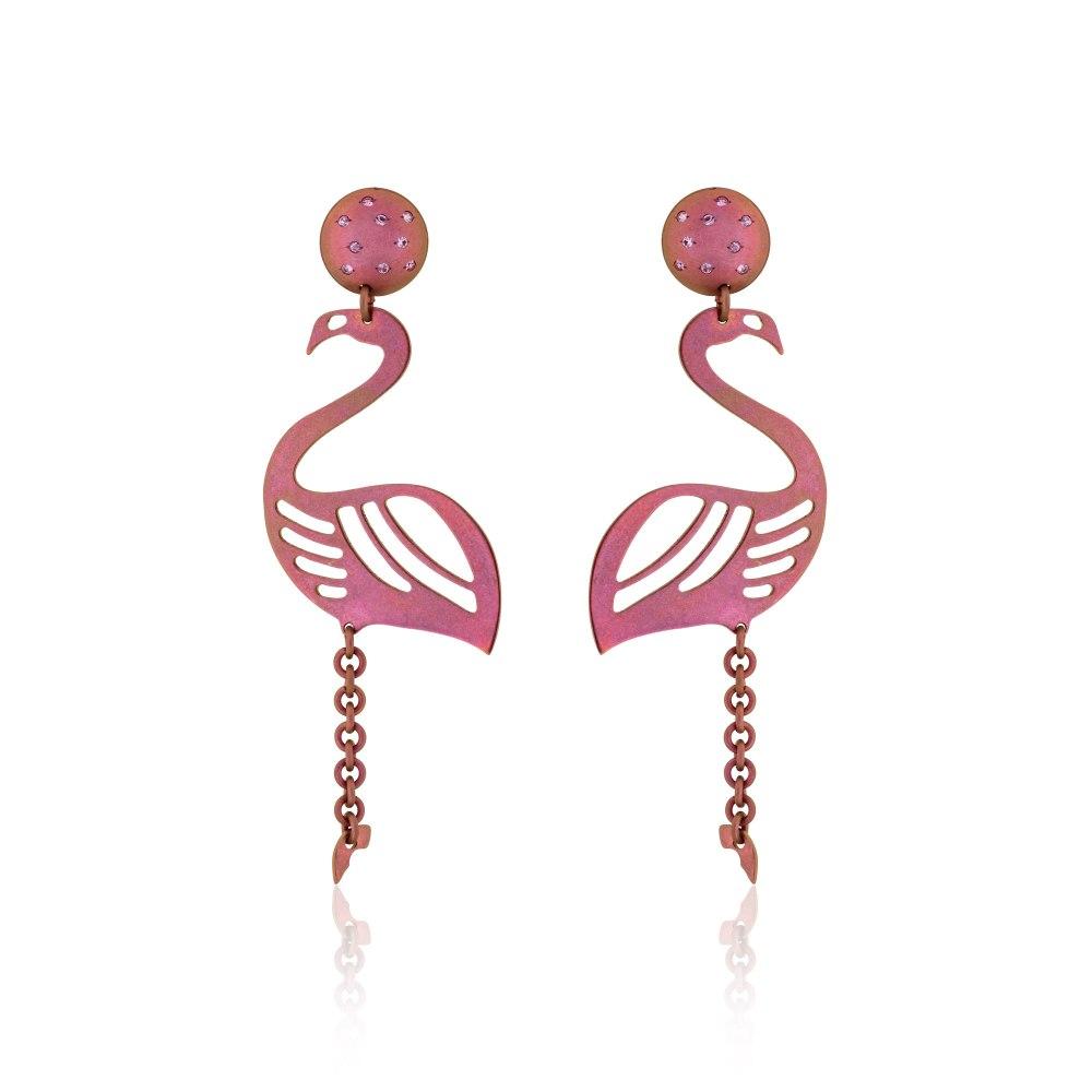 ANASTASIA KESSARIS Flamingo Pink Titanium Sapphire Earrings SKP180399