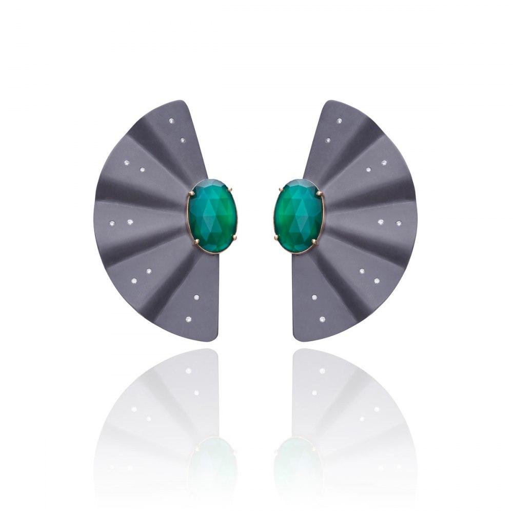 ANASTASIA KESSARIS Geisha Graphite Titanium Diamond Emerald Earrings Extra Long SKP170576