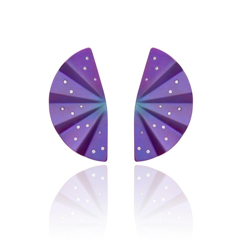ANASTASIA KESSARIS Geisha Purple Titanium and Diamond Earrings Long SKP170435