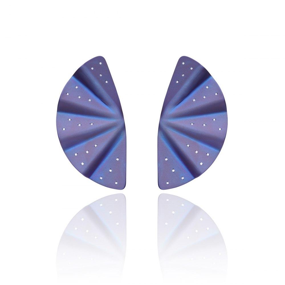 ANASTASIA KESSARIS Geisha Purple Titanium and Diamond Earrings Extra Long SKP172114