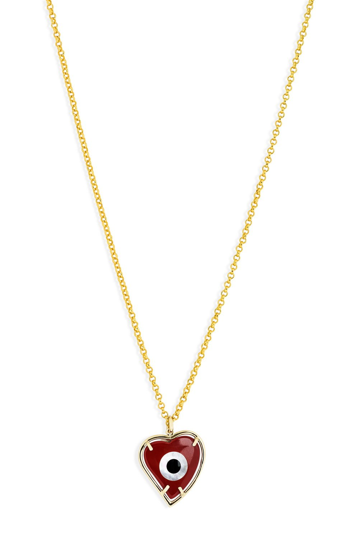 ANASTASIA KESSARIS Evil Eye Red Heart Pendant Necklace KRP180115