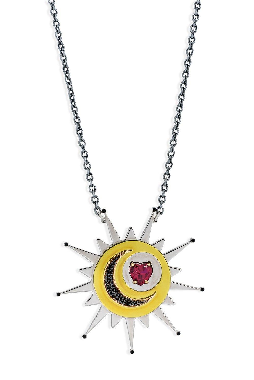 ANASTASIA KESSARIS Red Heart Sun Pendant Necklace With Black Diamond Moon KRE180622