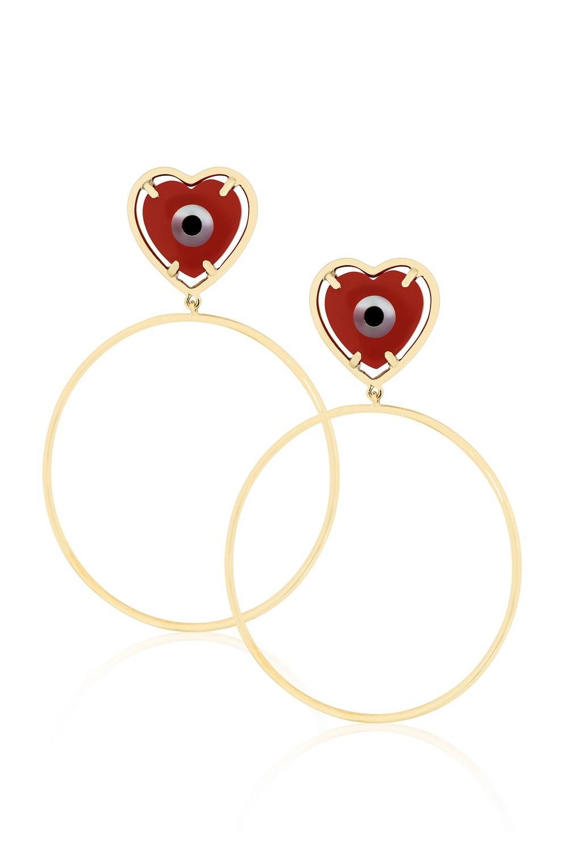 ANASTASIA KESSARIS Evil Eye Red Heart Hoop Earrings SKP180117