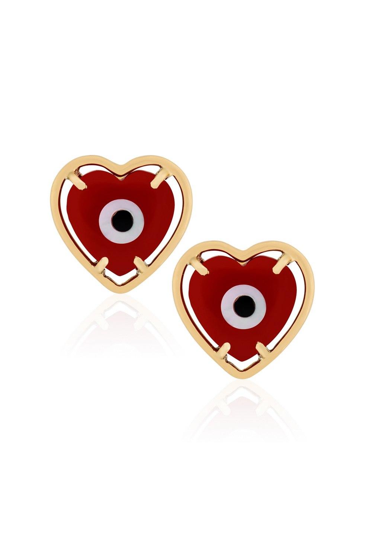 KESSARIS Evil Eye Red Heart Stub Earrings SKP180114