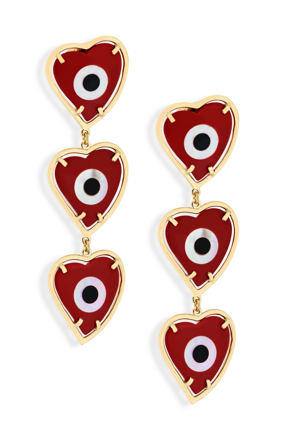KESSARIS Triple Evil Eye Red Heart Earrings SKP180116