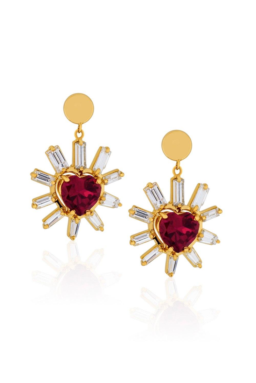 ANASTASIA KESSARIS Red Heart and Diamond Rays Earrings SKP180107